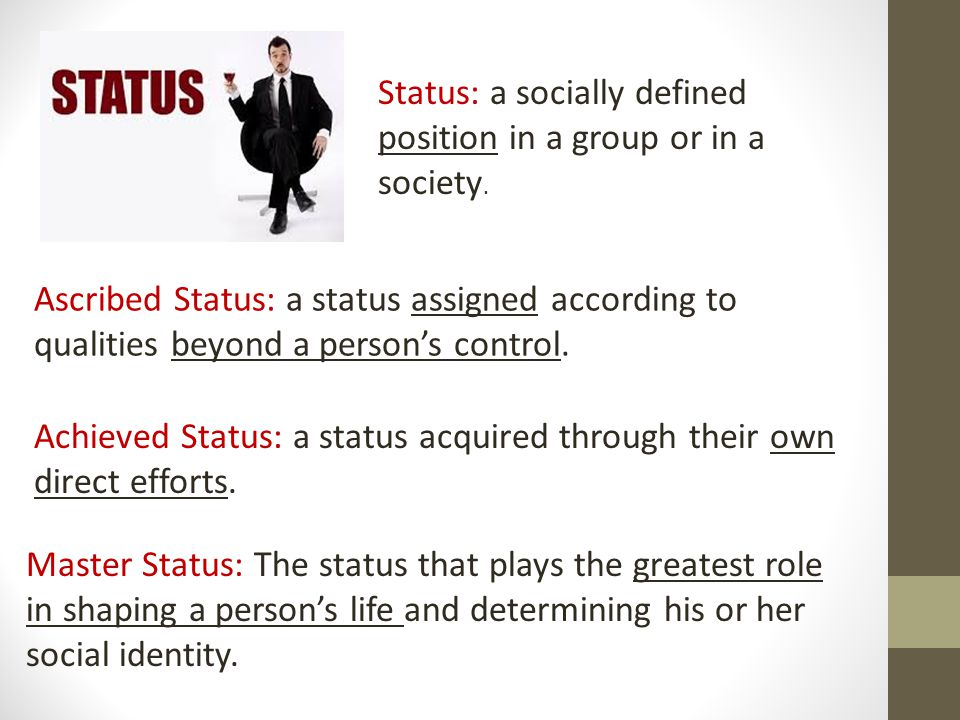 Status: a socially defined position in a group or in a society.