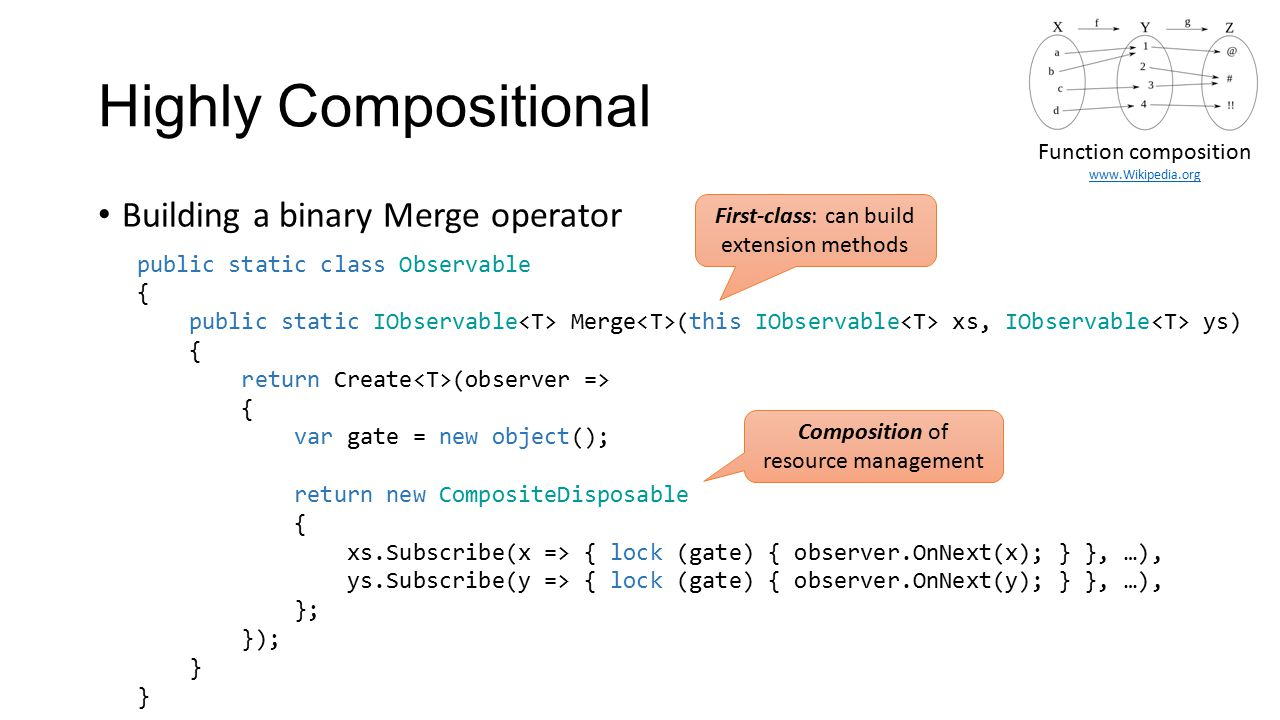 Highly Compositional Building a binary Merge operator