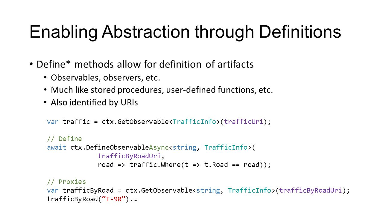 Enabling Abstraction through Definitions