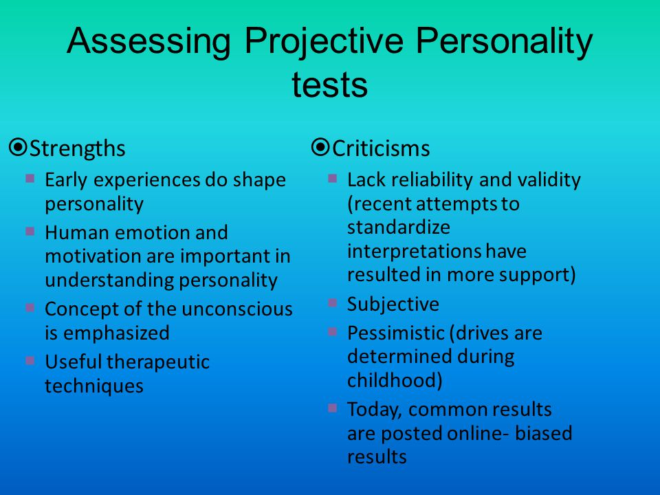 Assessing Projective Personality tests