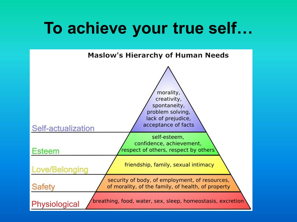 To achieve your true self…
