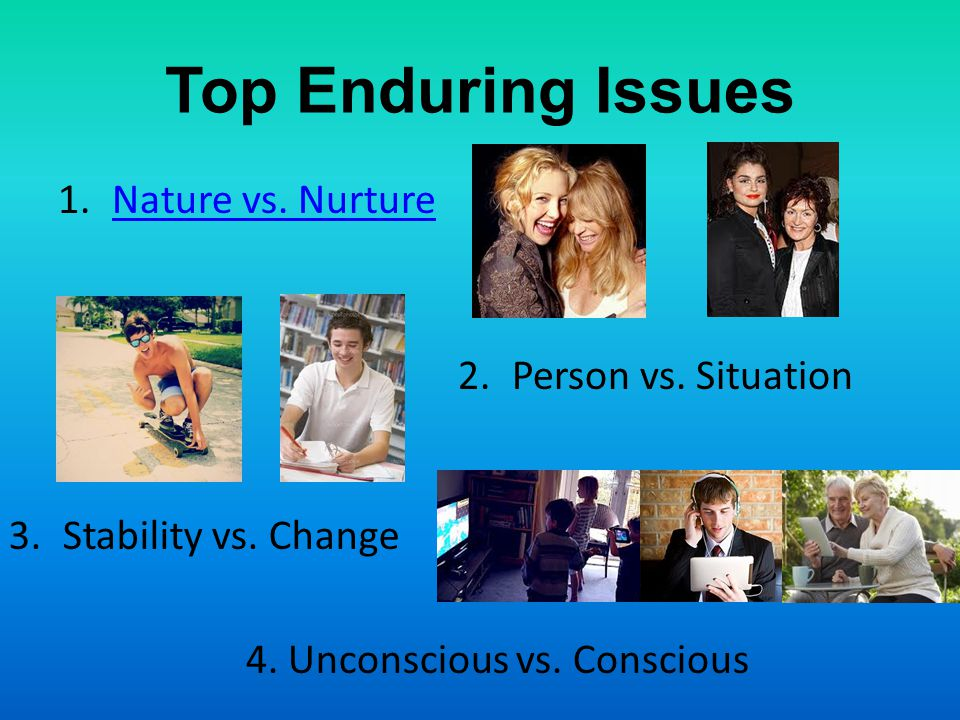 Top Enduring Issues Nature vs. Nurture Person vs. Situation