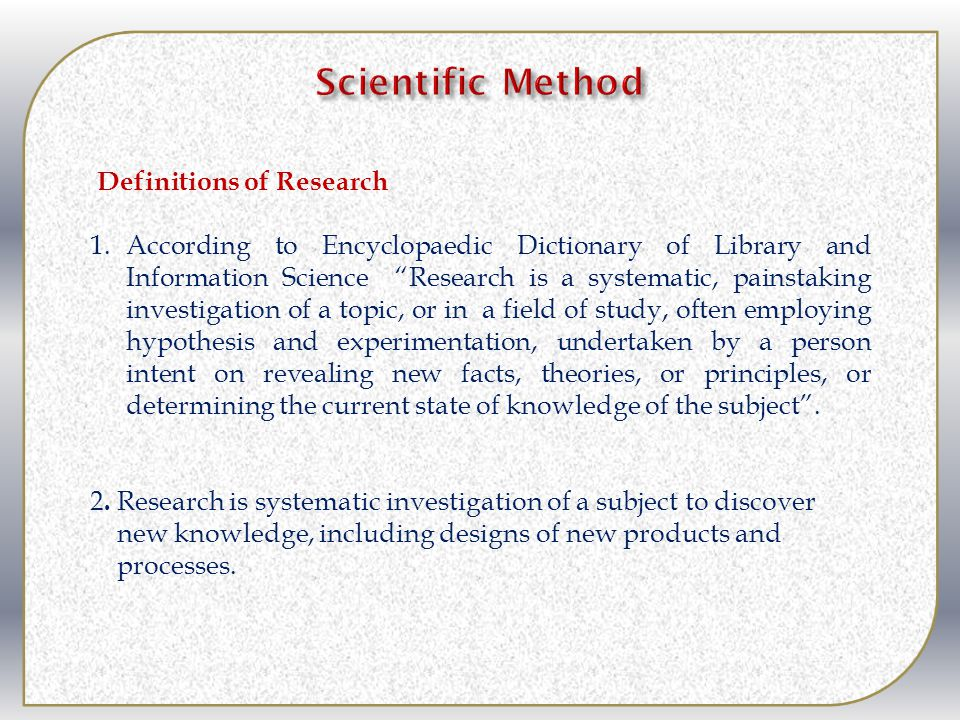 Scientific Method Definitions of Research
