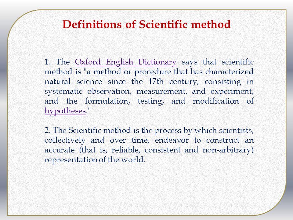Definitions of Scientific method