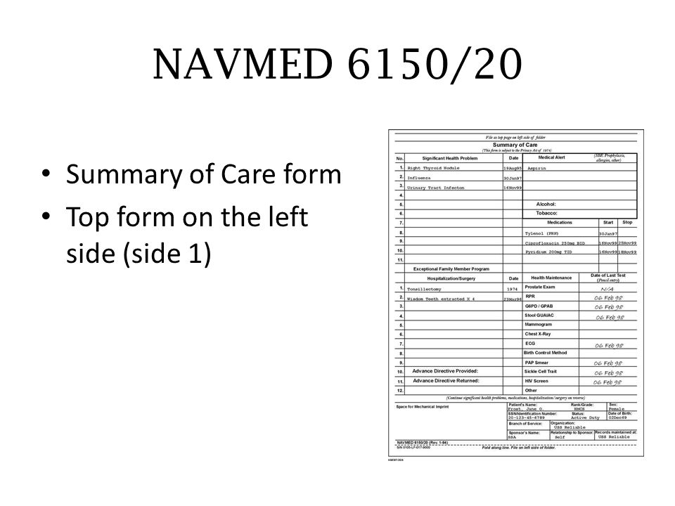 NAVMED 6150/20 Summary of Care form Top form on the left side (side 1)