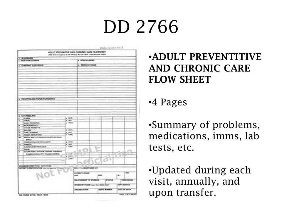 DD 2766 ADULT PREVENTITIVE AND CHRONIC CARE FLOW SHEET 4 Pages