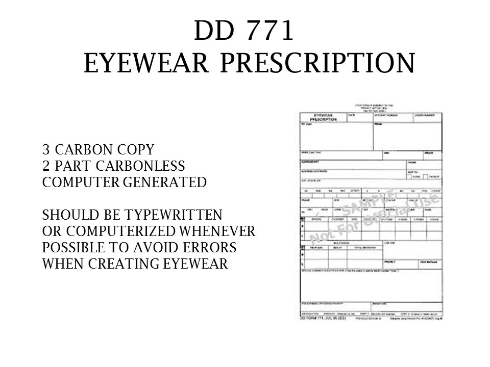 DD 771 EYEWEAR PRESCRIPTION