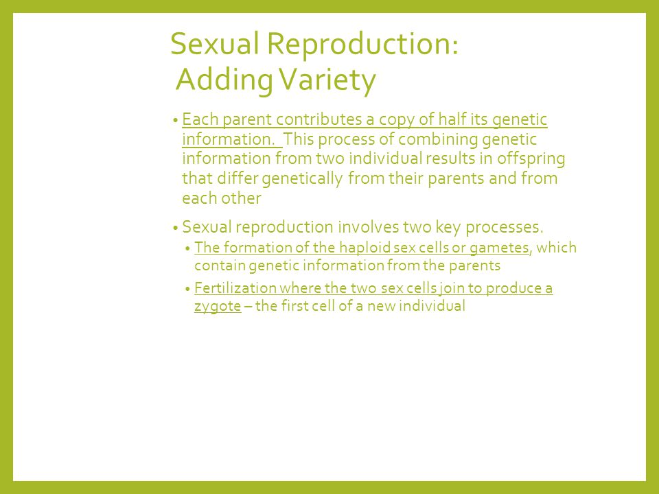 Sexual Reproduction: Adding Variety