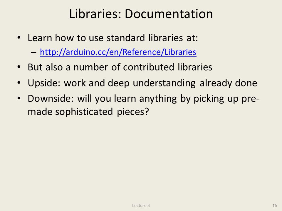 Libraries: Documentation