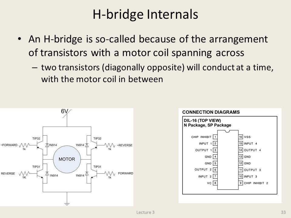 H-bridge Internals An H-bridge is so-called because of the arrangement of transistors with a motor coil spanning across.