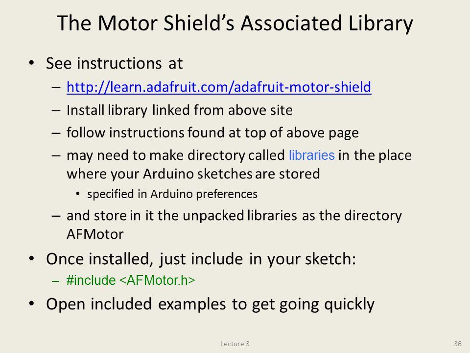 The Motor Shield's Associated Library