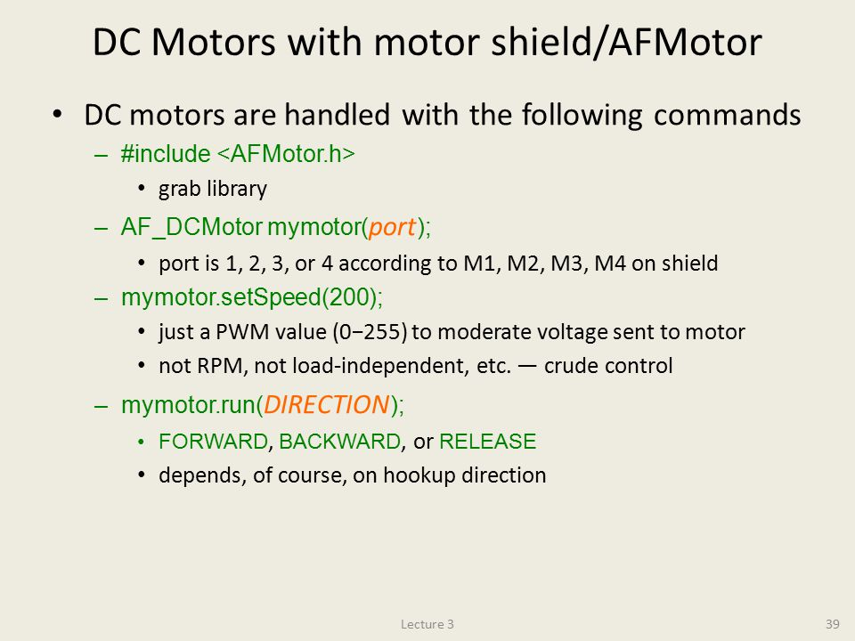 DC Motors with motor shield/AFMotor