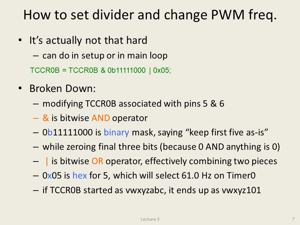 How to set divider and change PWM freq.