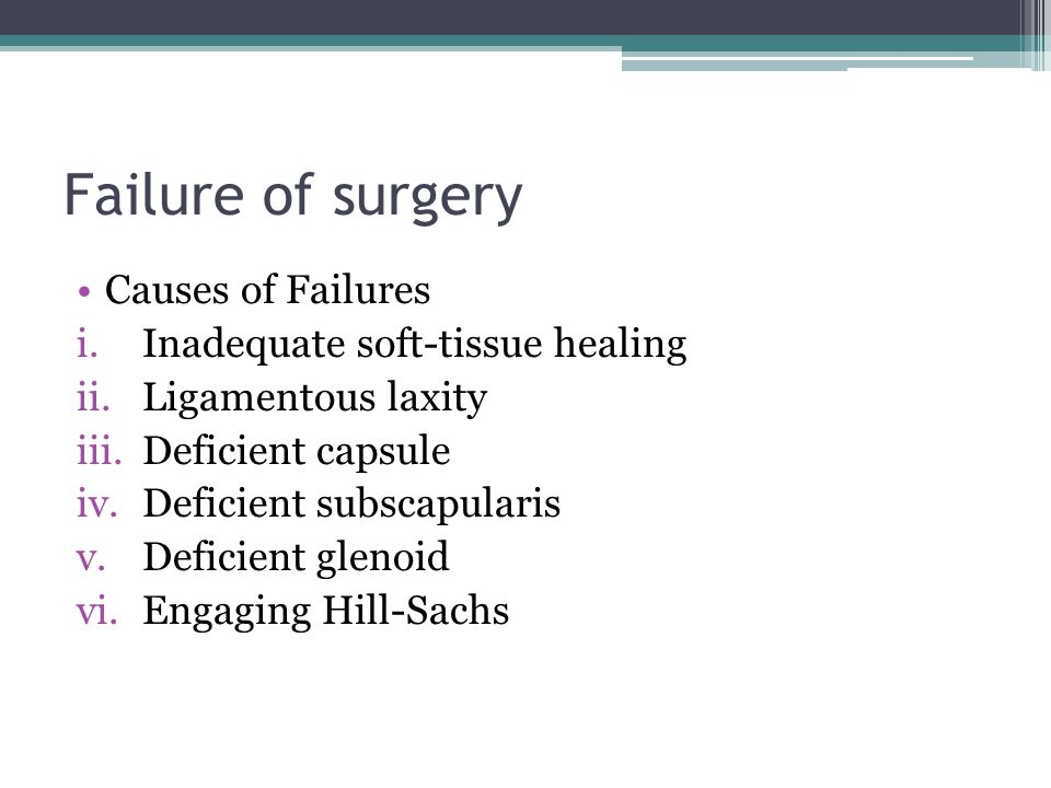 Failure of surgery Causes of Failures Inadequate soft-tissue healing