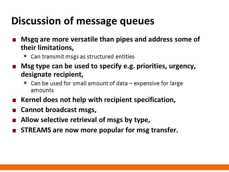 Discussion of message queues