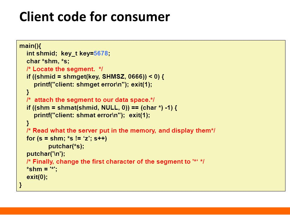 Client code for consumer