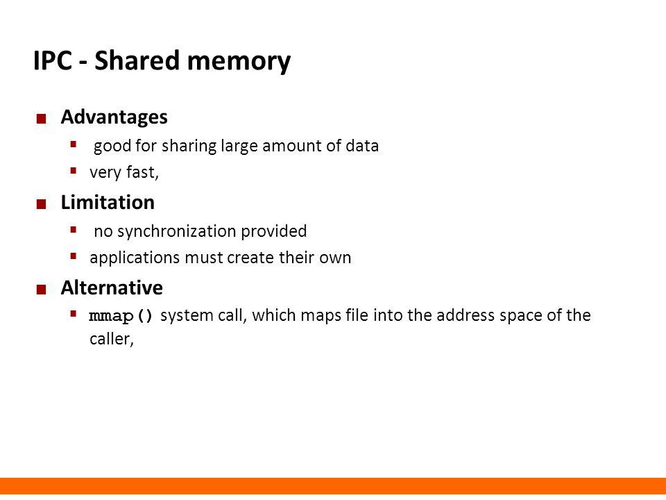IPC - Shared memory Advantages Limitation Alternative