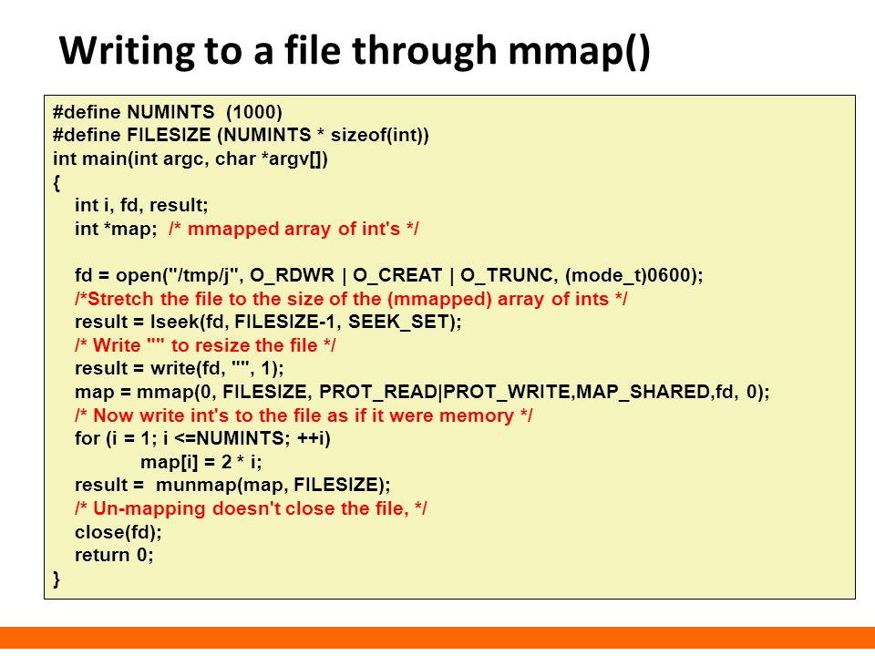 Writing to a file through mmap()