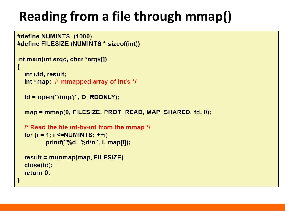 Reading from a file through mmap()