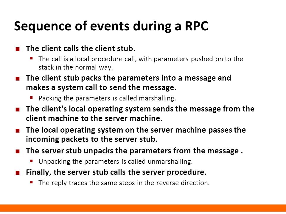 Sequence of events during a RPC