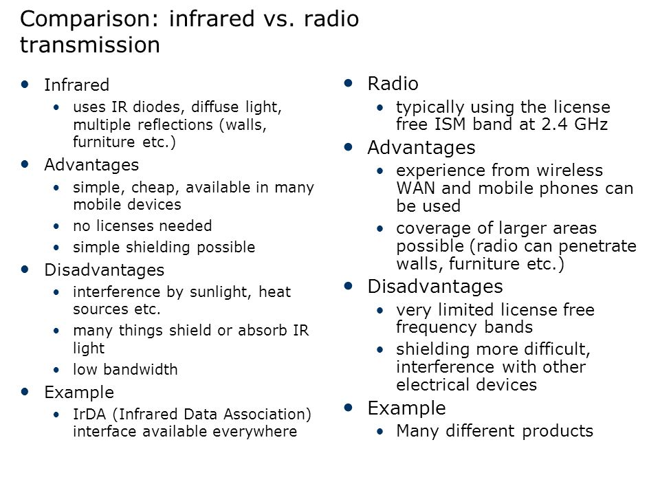 Comparison: infrared vs. radio transmission