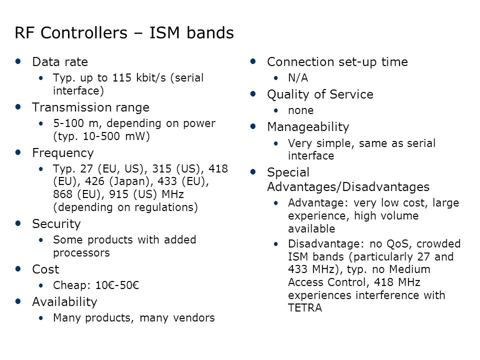 RF Controllers – ISM bands