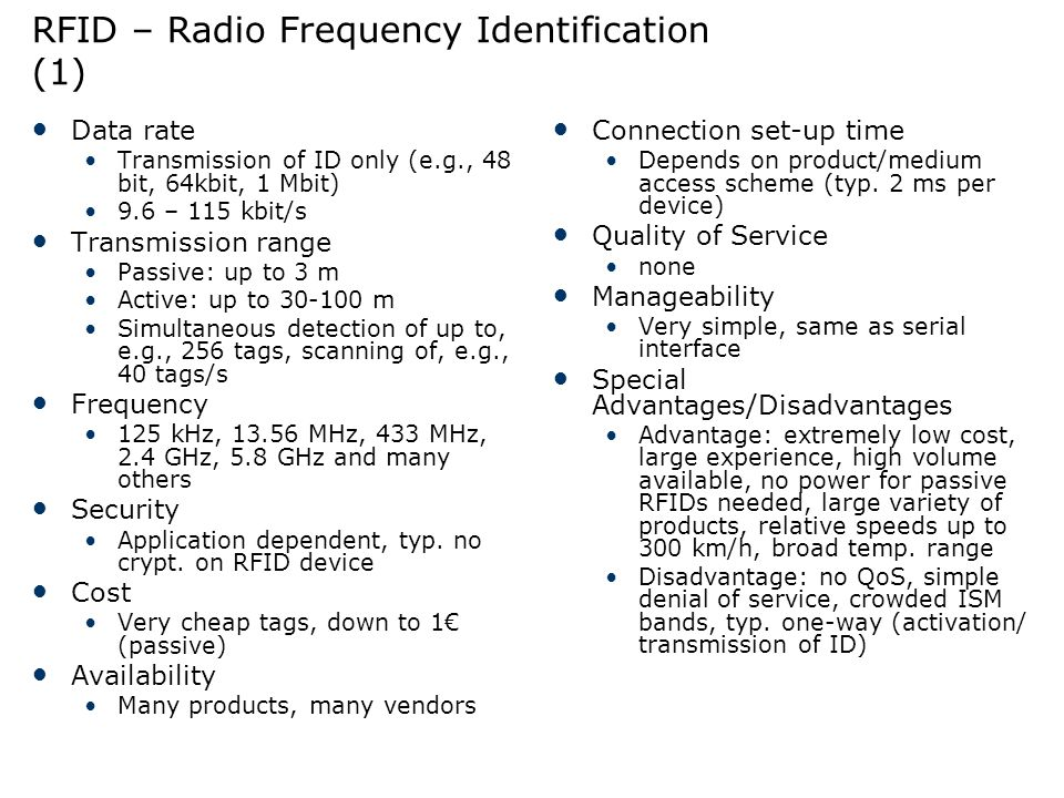 RFID – Radio Frequency Identification (1)