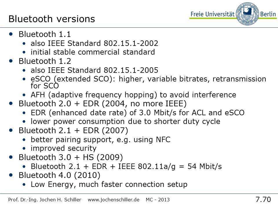 Bluetooth versions Bluetooth 1.1 Bluetooth 1.2