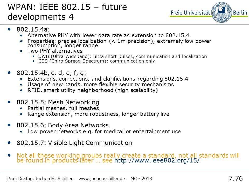 WPAN: IEEE 802.15 – future developments 4