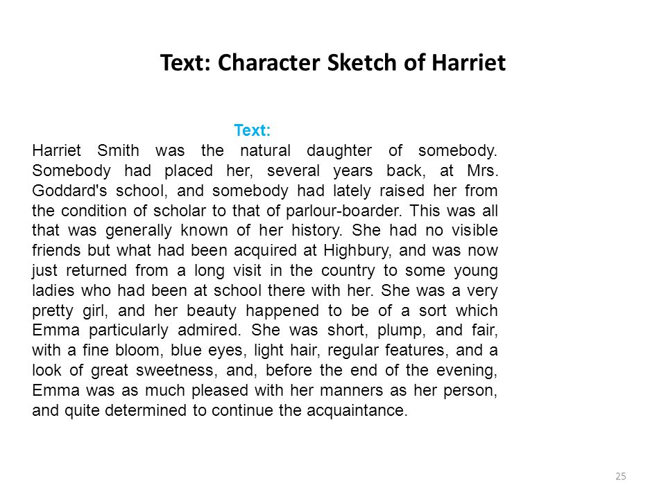 Text: Character Sketch of Harriet