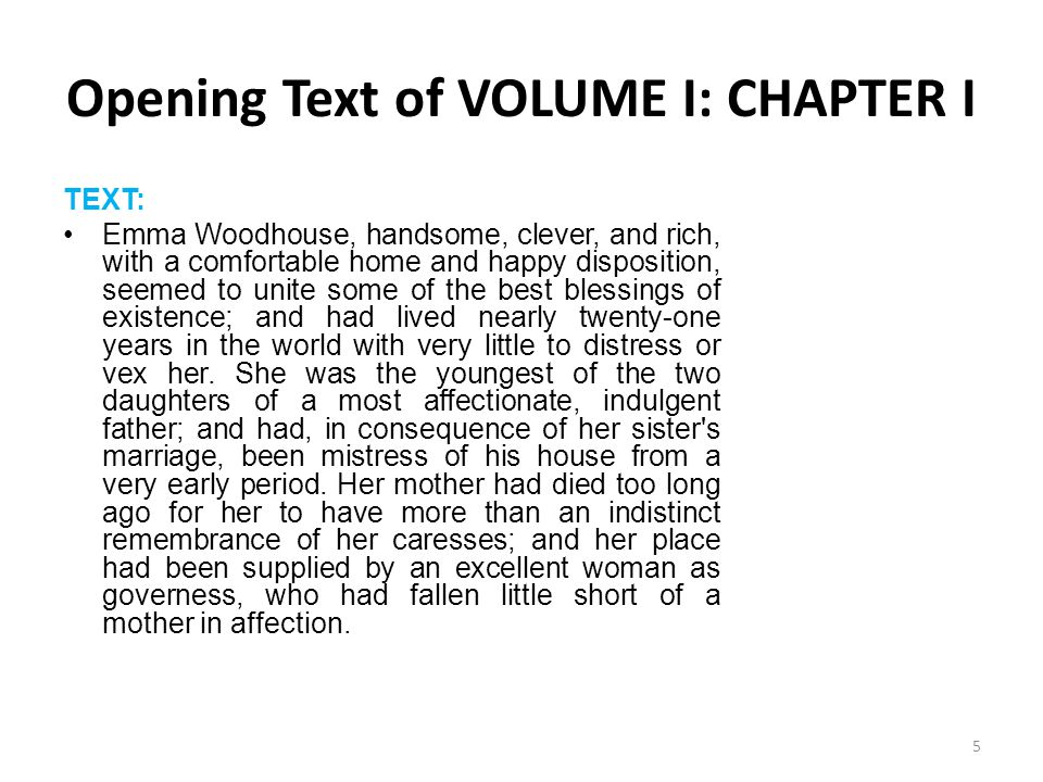 Opening Text of VOLUME I: CHAPTER I