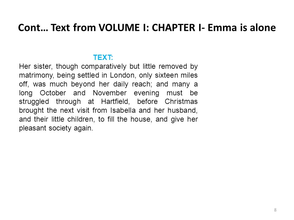 Cont… Text from VOLUME I: CHAPTER I- Emma is alone