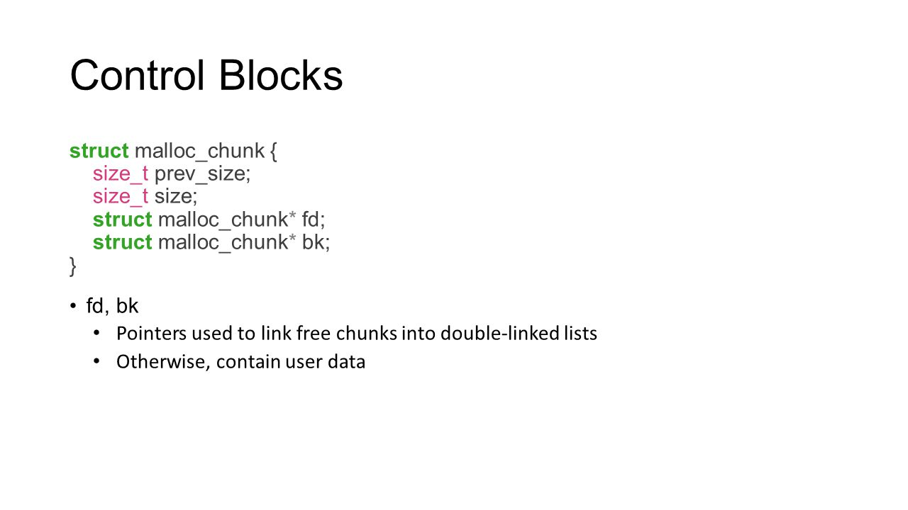 Control Blocks struct malloc_chunk { size_t prev_size; size_t size;