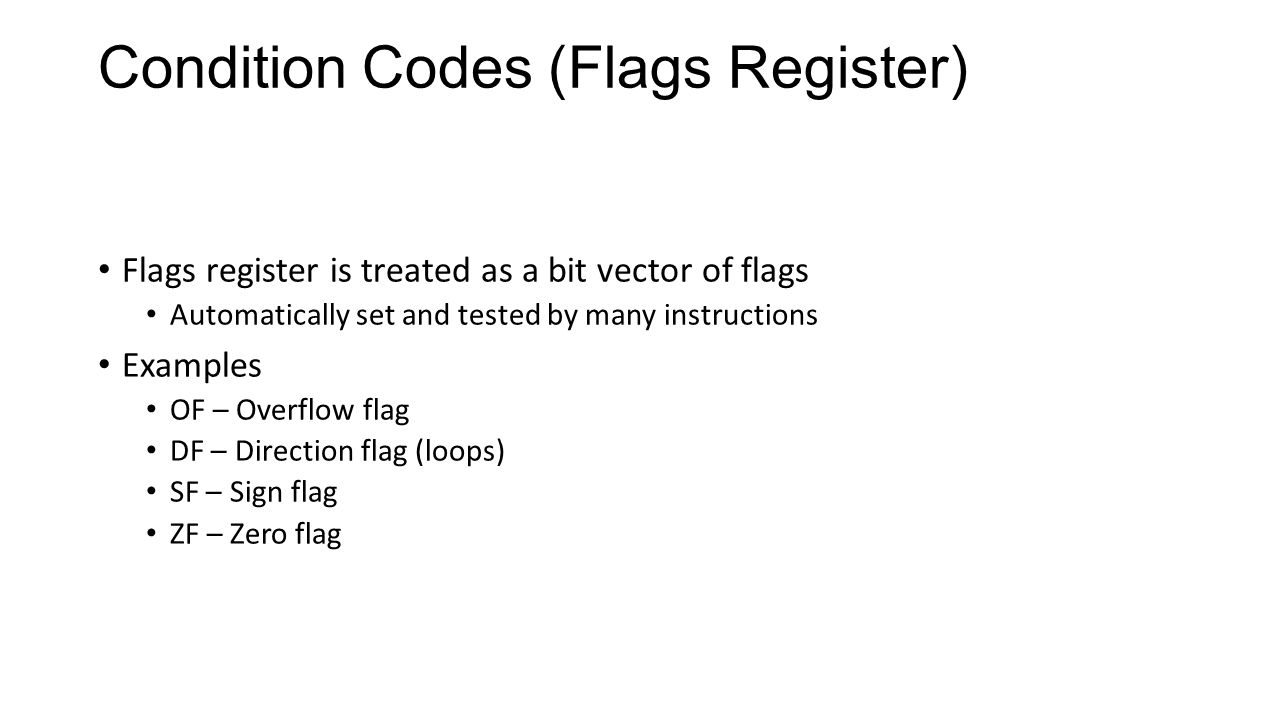 Condition Codes (Flags Register)