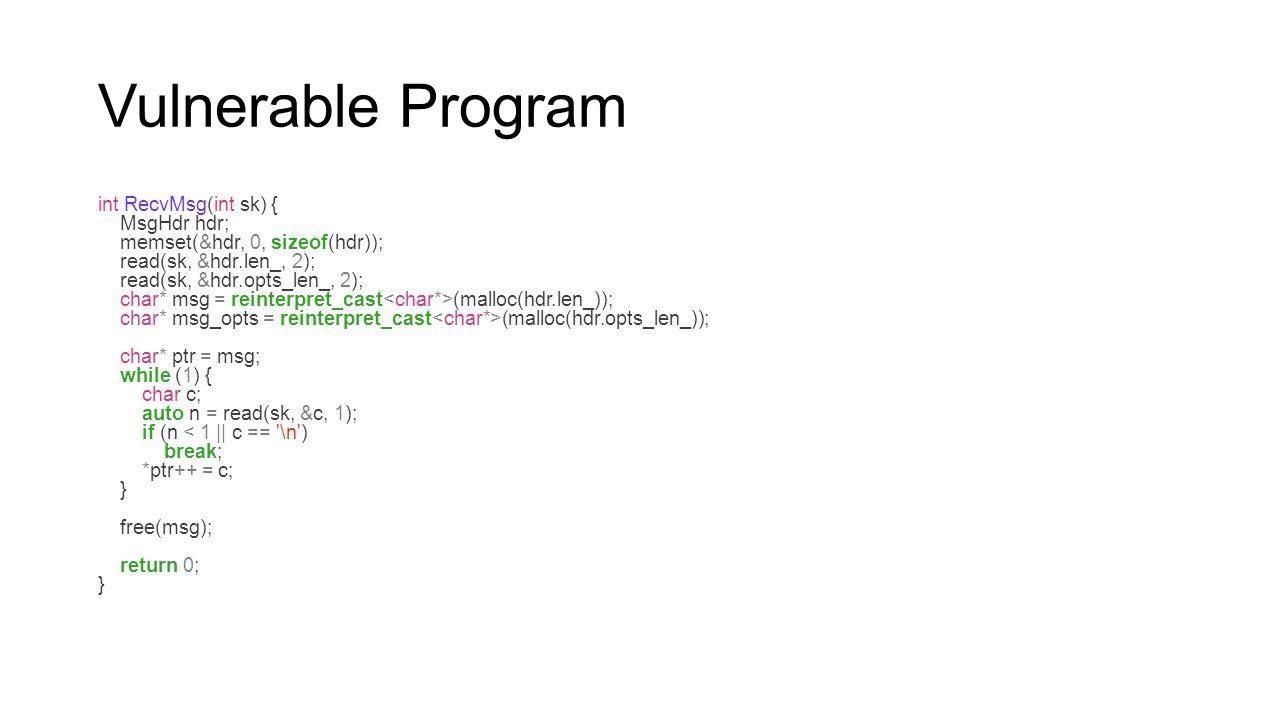 Vulnerable Program int RecvMsg(int sk) { MsgHdr hdr;