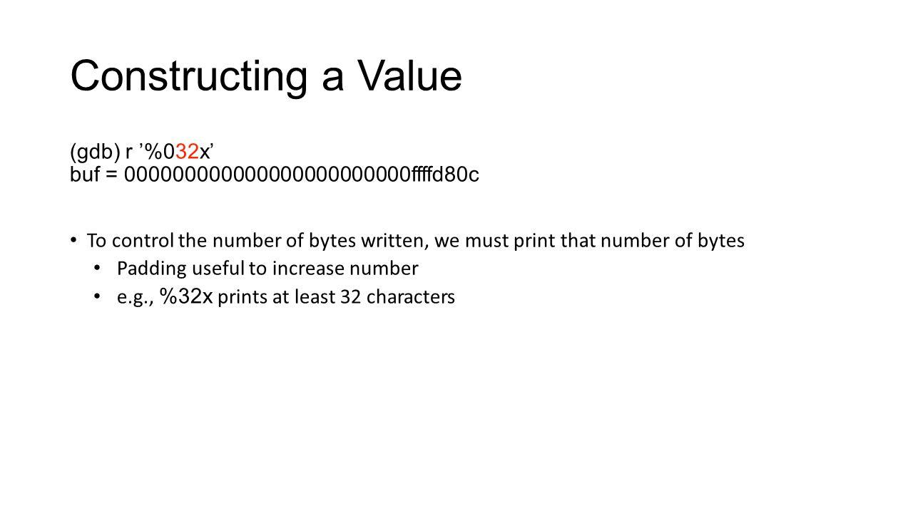 Constructing a Value (gdb) r '%032x'