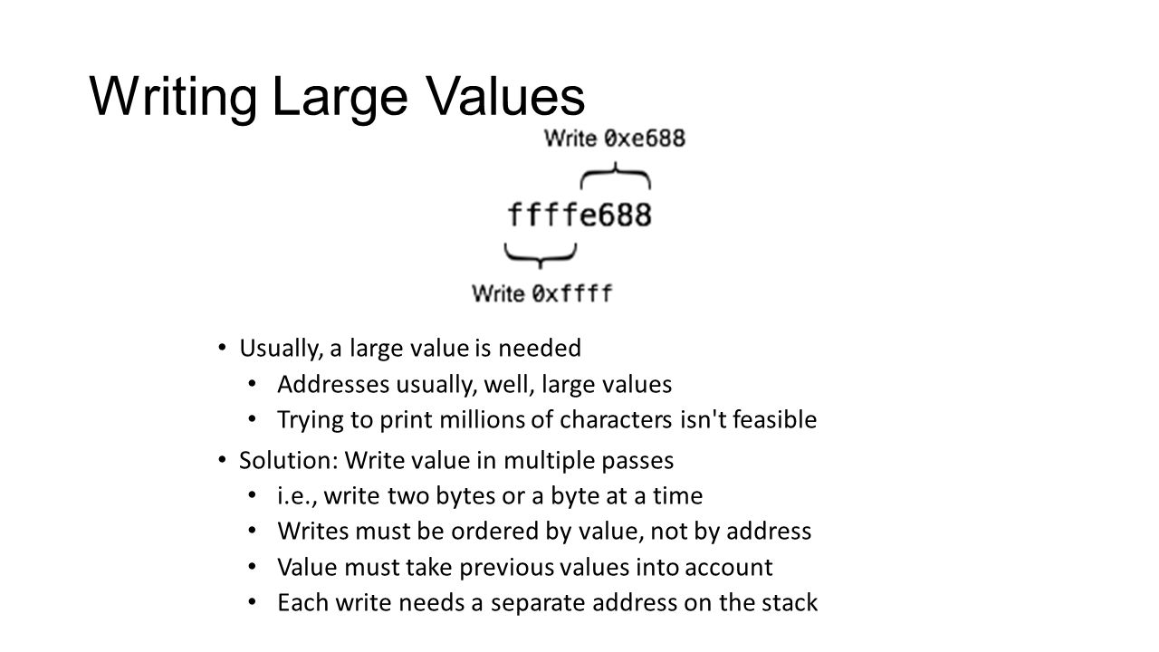 Writing Large Values Usually, a large value is needed