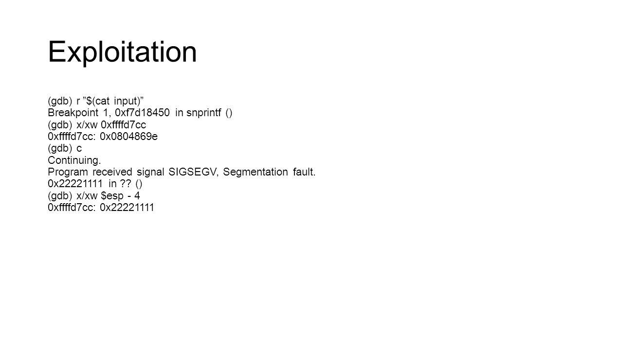 Exploitation (gdb) r $(cat input)