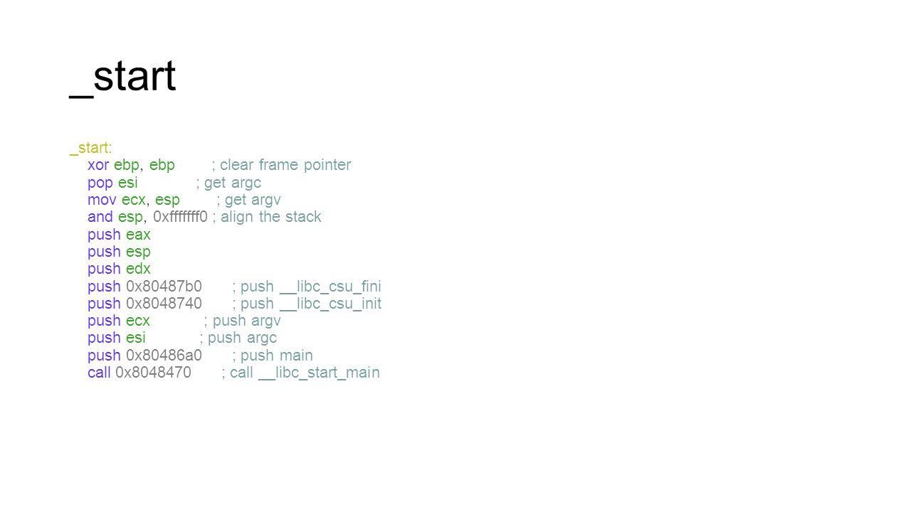 _start _start: xor ebp, ebp ; clear frame pointer pop esi ; get argc