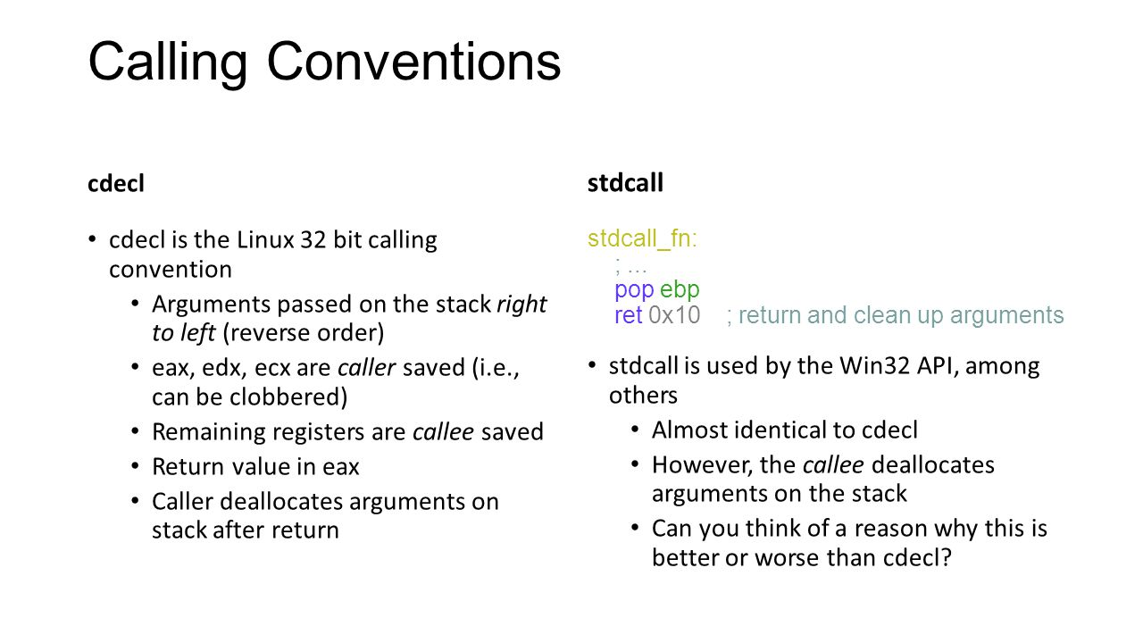 Calling Conventions stdcall cdecl