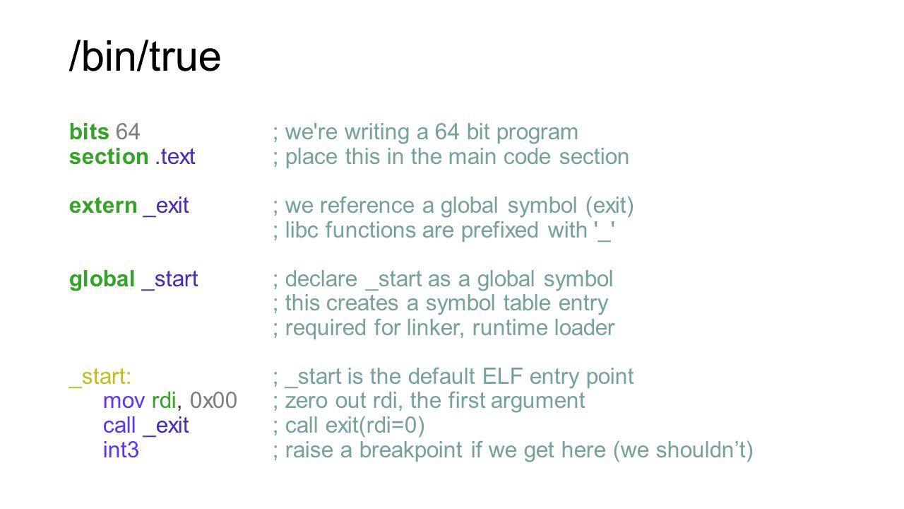 /bin/true bits 64 ; we re writing a 64 bit program