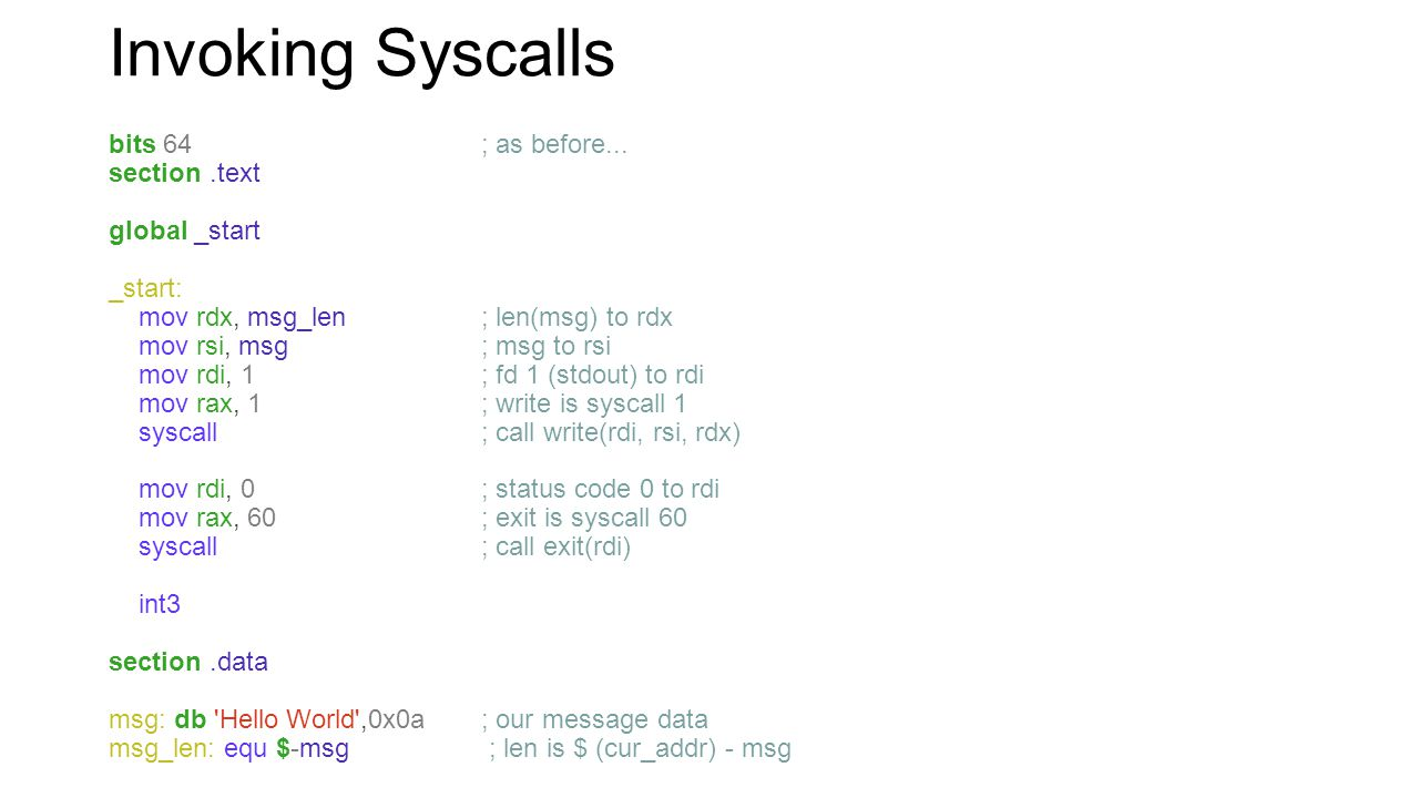 Invoking Syscalls bits 64 ; as before... section .text global _start