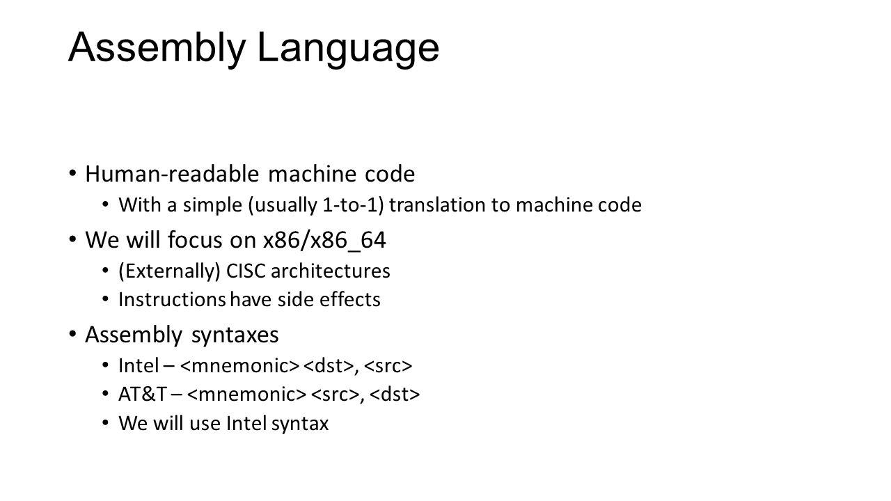 Assembly Language Human-readable machine code