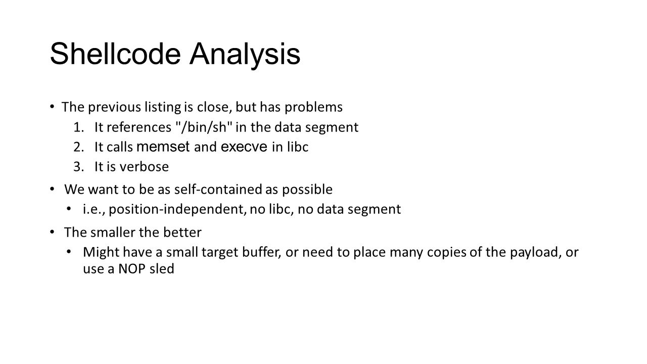Shellcode Analysis Why are each of these problems
