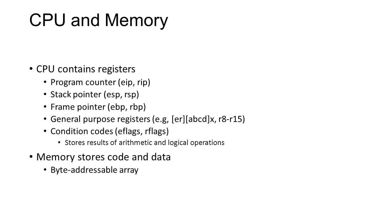 CPU and Memory CPU contains registers Memory stores code and data