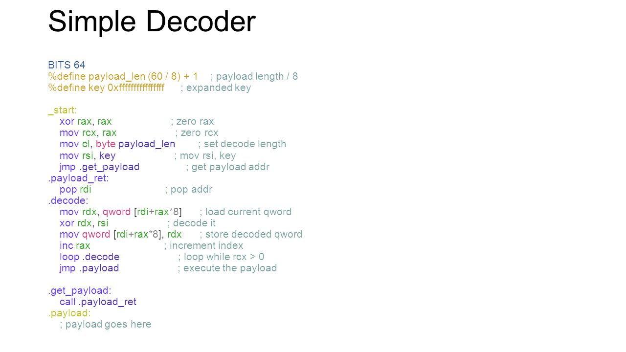 Simple Decoder Very simple, more compact and robust decoders exist